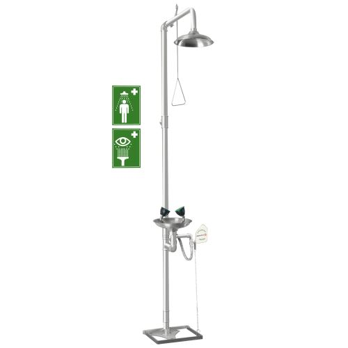 Kombinovaná telová a očná bezpečnostná sprcha 2S - stojanová celonerezová