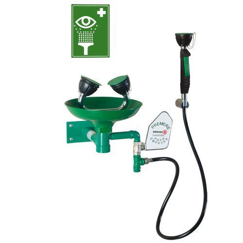 Očná bezpečnostná sprcha - nástenná polypropylénová + ručná
