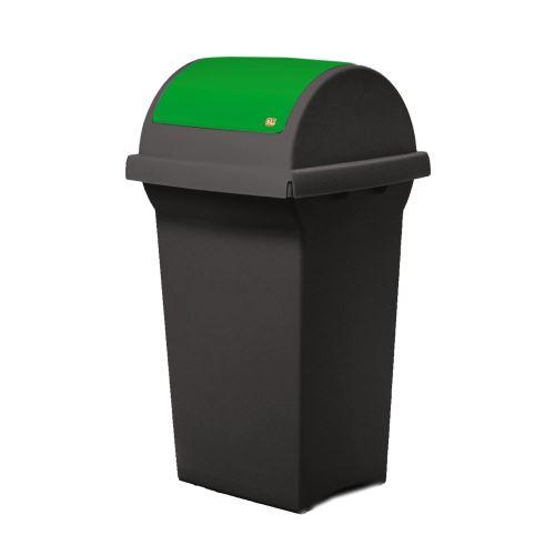Odpadkový koš 50 l na triedenie odpadov - veko výklopné ZELENÉ