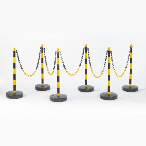 Plastový vymedzovací stĺpik ŽLTO / ČIERNY - sada 6 ks + reťaz 25 m