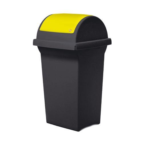 Odpadkový koš 50 l na triedenie odpadov - veko výklopné ŽLTÉ