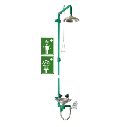 Kombinovaná telová a očná bezpečnostná sprcha - nástenná nerezová