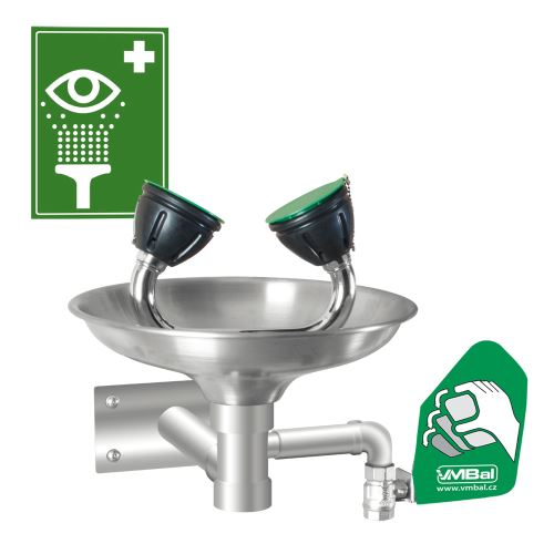 Očná bezpečnostná sprcha - nástenná celonerezová