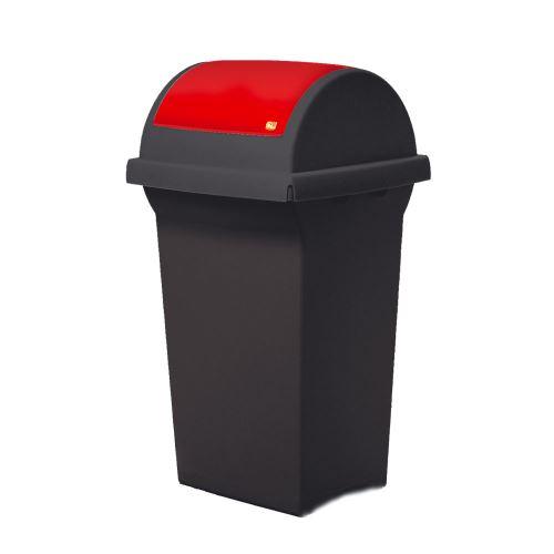 Odpadkový koš 50 l na triedenie odpadov - veko výklopné ČERVENÉ