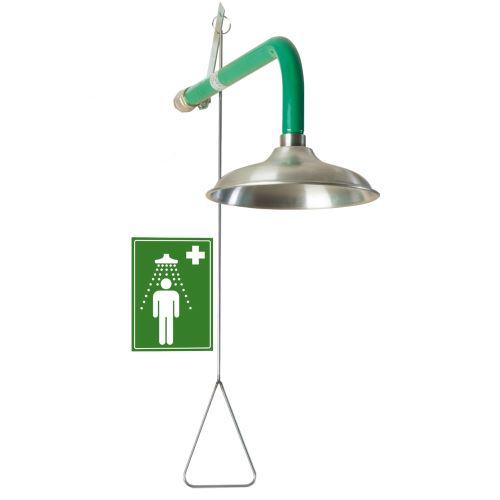 Telová bezpečnostná sprcha - nástenná nerezová
