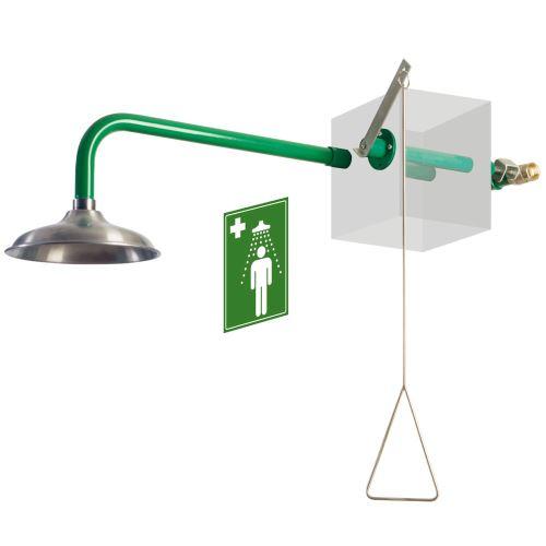 Telová bezpečnostná sprcha vonkajšia - nástenná nerezová