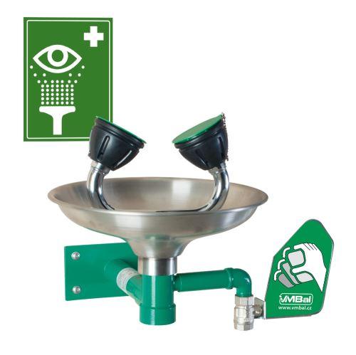 Očná bezpečnostná sprcha - nástenná nerezová