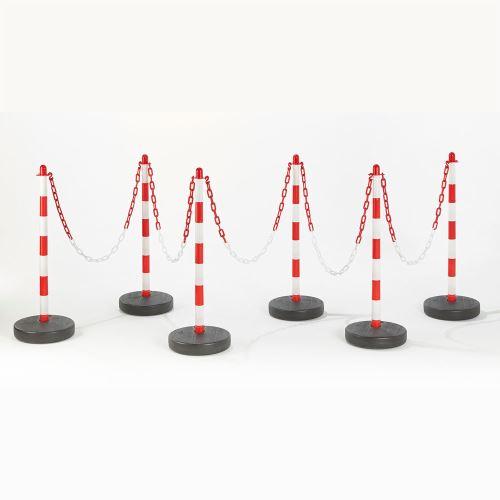 Plastový vymedzovací stĺpik ČERVENO / BIELY - sada 6 ks + reťaz 25 m