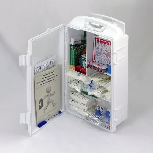 Prenosná lekárnička biela s náplňou POPÁLENINY