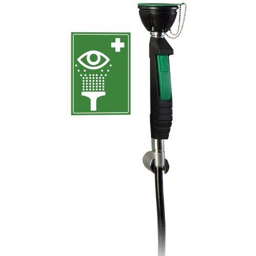 Ručná bezpečnostná očná sprcha 1H s flexibilnou hadicou - na stenu