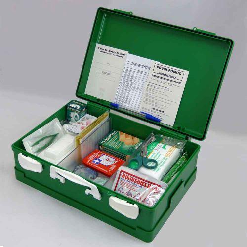 Kufor prvej pomoci ZELENÝ s náplňou POPÁLENINY